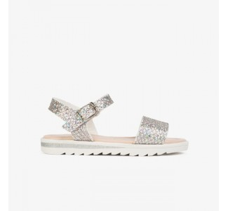 Conguitos Girl's Glitter Multi-Silver Sandals
